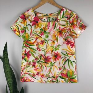 J.Crew Bright Floral Printed T-Shirt - Size XXS